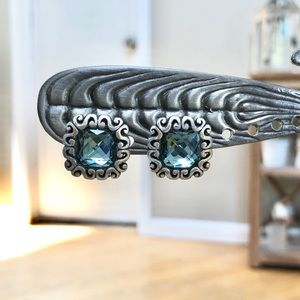 Aquamarine Square Scroll Earrings